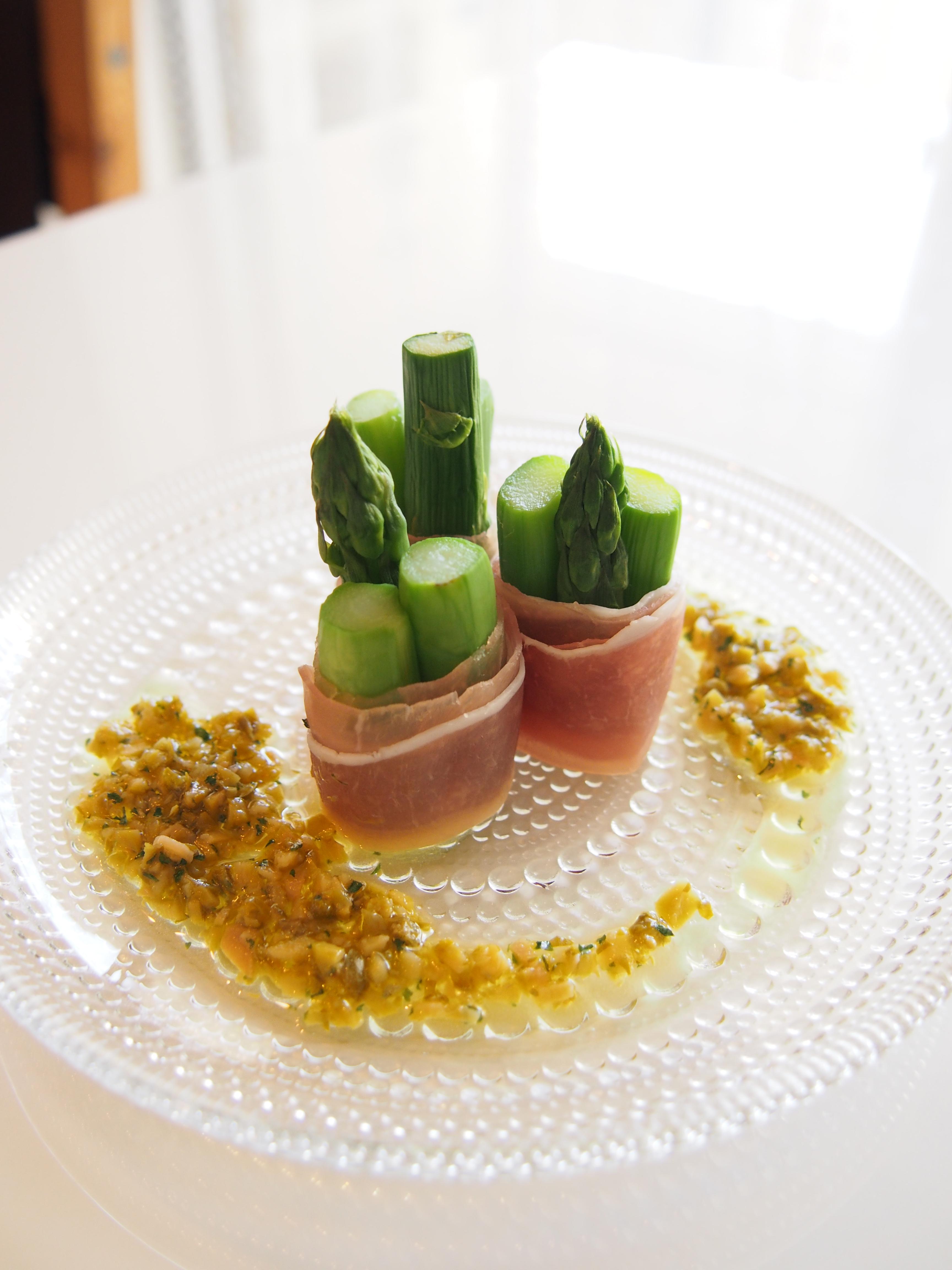 【レシピ】グリーンアスパラの生ハムまき 手作りビネグレットソース